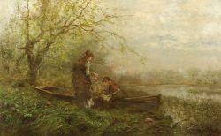 James Crawford Thom (American, 1835-1898)  Gathering Flowers