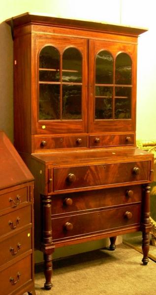 Empire Glazed Mahogany and Mahogany Veneer Two-part Writing Desk/Bookcase.
