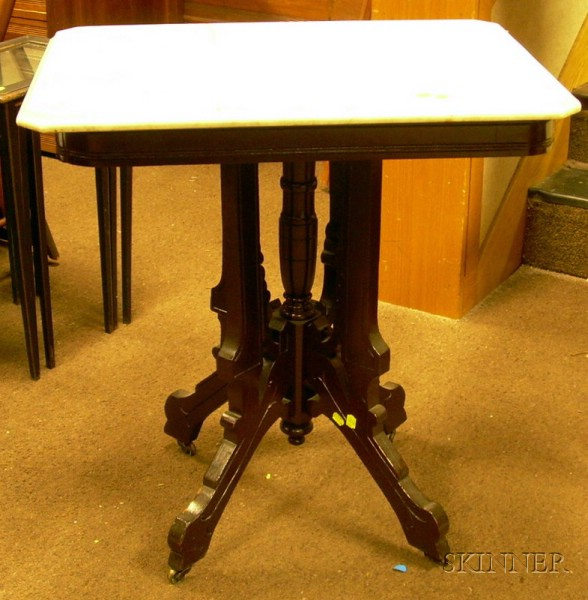 Eastlake-type White Marble-top Walnut Occasional Table.