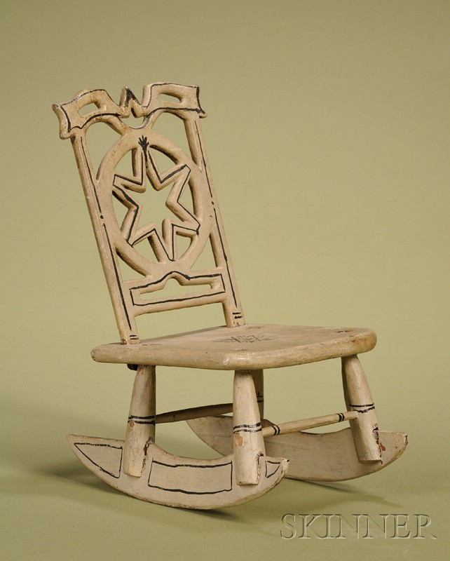 American Classical Black and White Painted Country Armless Rocker
