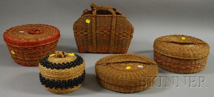 Five Native American Splint Baskets.
