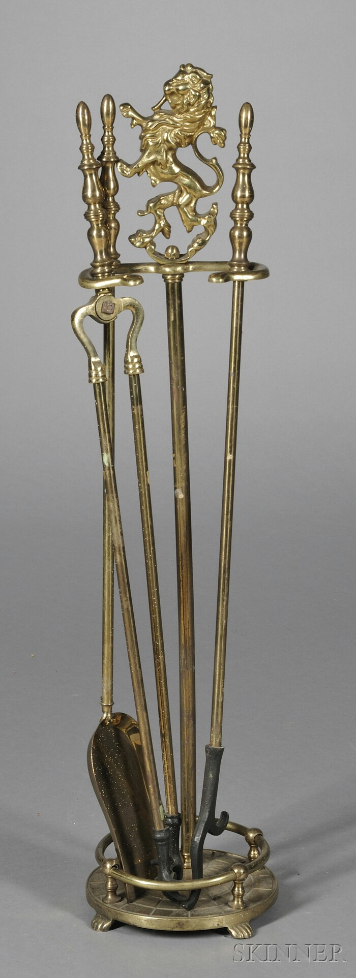 Brass Stand with Three Fireplace Tools