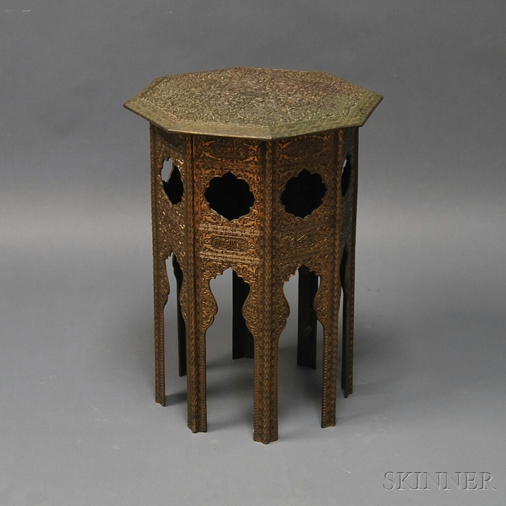 Cast Brass Octagonal Side Table