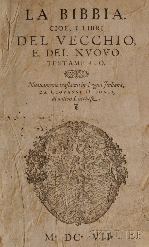 Bible, Italian, La Bibbia. Cioe, i Libri del Vecchio, e del Nuovo Testamento  , trans. Giovanni Diodati (1576-1649)