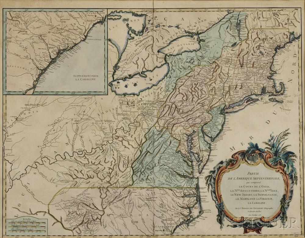 New England To The Carolinas Robert De Vaugondy 1688 1766 Partie
