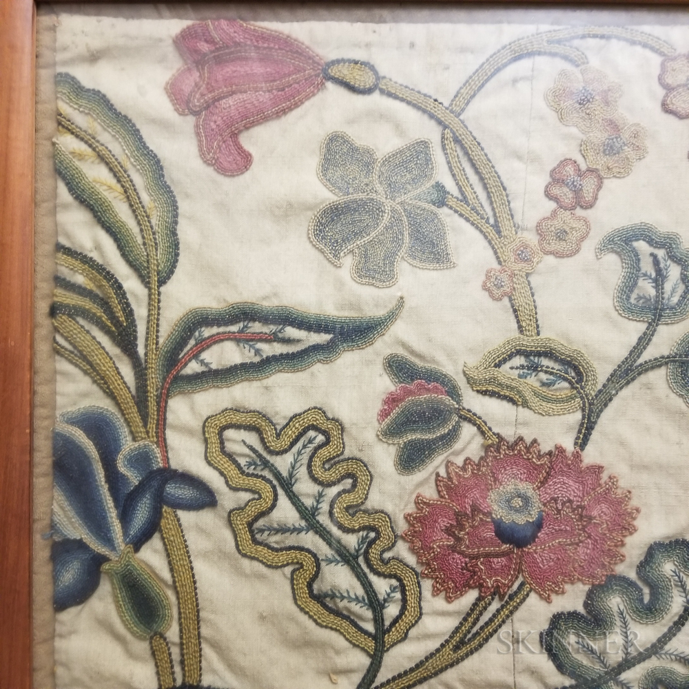 Framed Foliate-decorated Crewelwork Tapestry