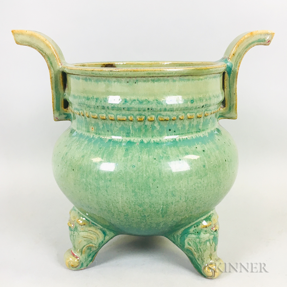 Green-glazed Tripod Censer