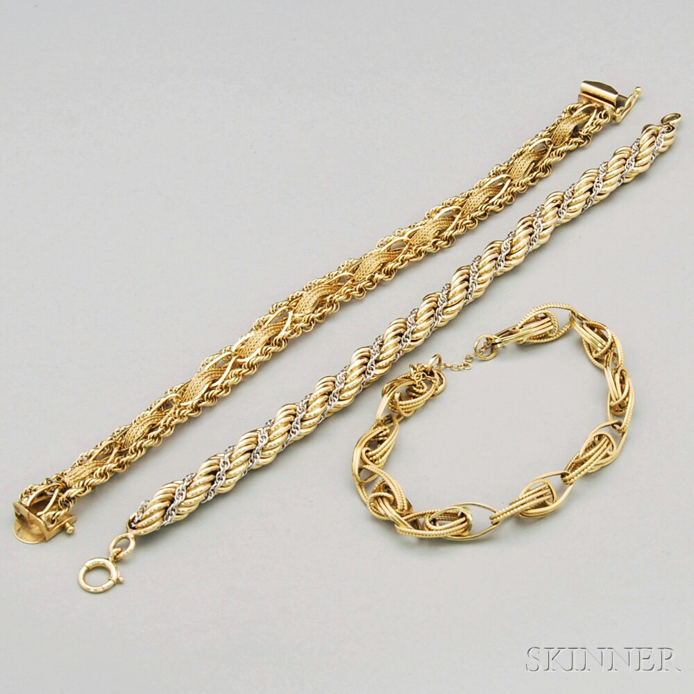 Three 14kt Gold Bracelets