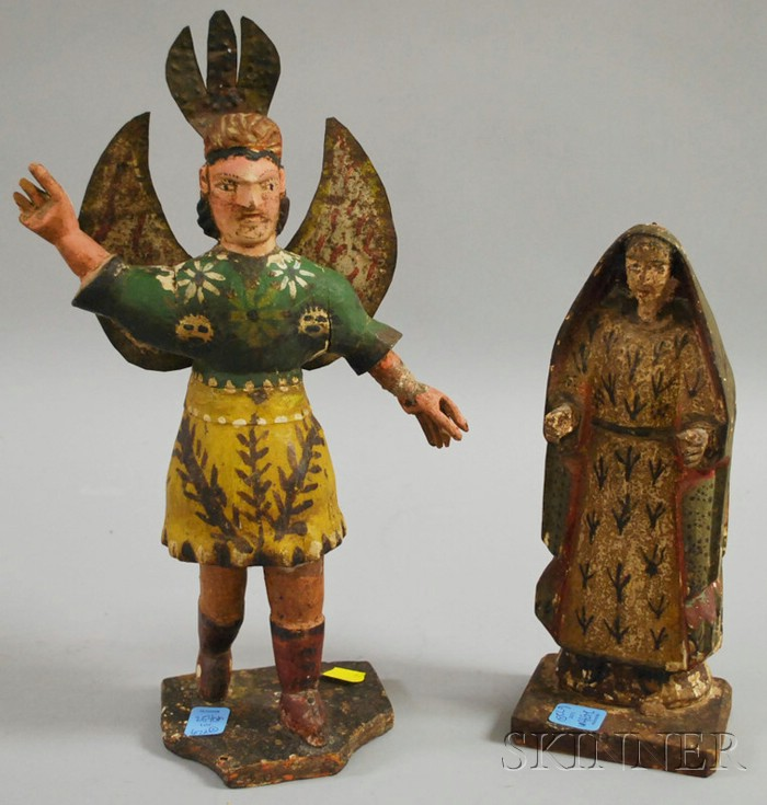 Two Central American Polychrome Carved Wood Santos Figures.