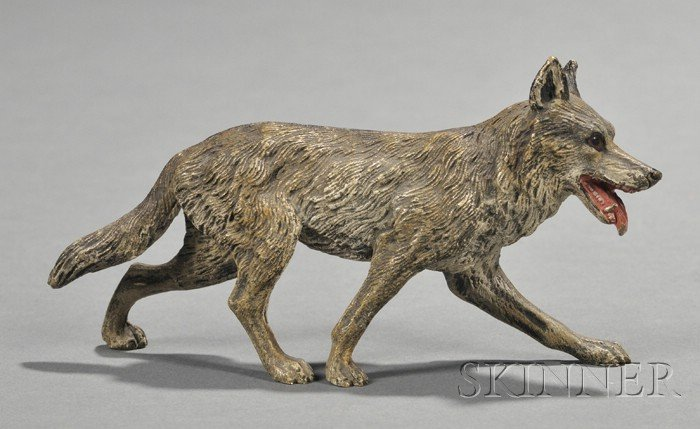 Vienna Cold Painted Bronze Model of Wolf