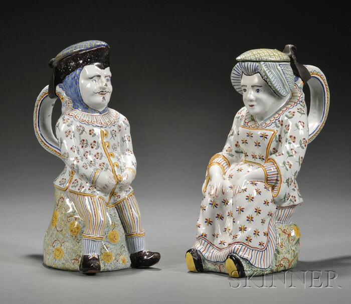 Pair of Tin Glazed Toby Jugs