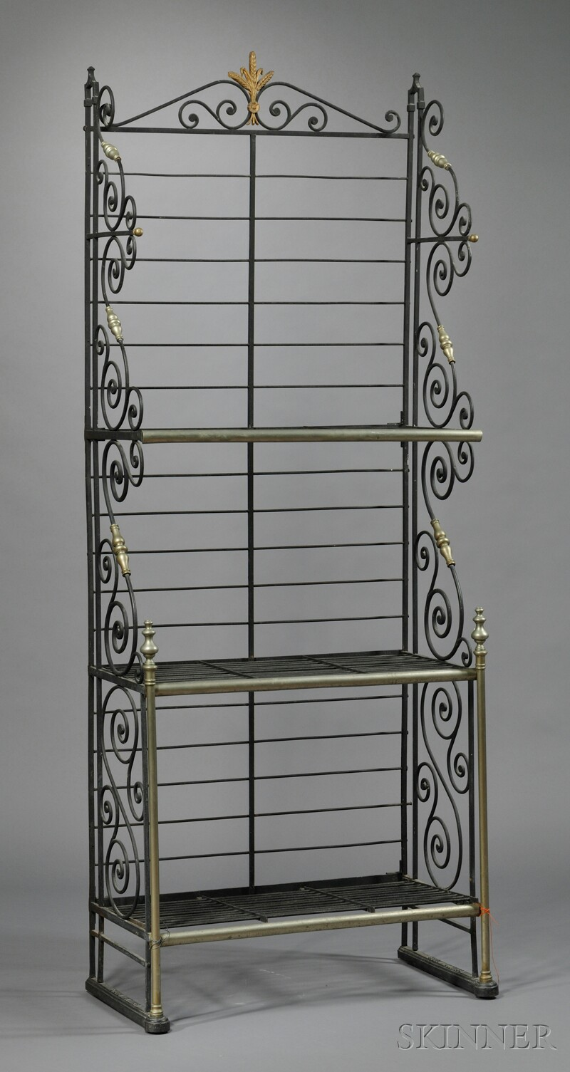 French Powder Coated and Brass Baker's Rack