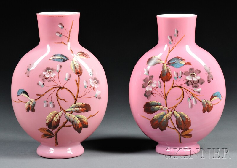 Pair of Pink Bristol Glass Moon Vases