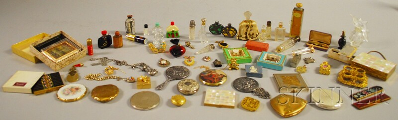 Group of Assorted Perfumes, Compacts, and Dresser Items