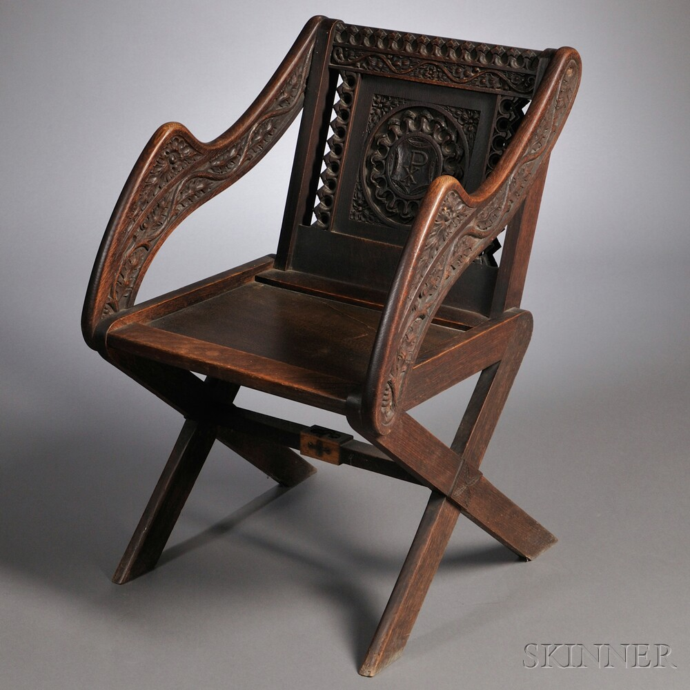 Gothic Revival Oak Glastonbury Chair
