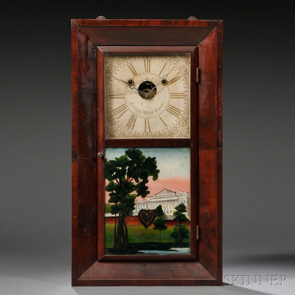 S. B. Terry Bevel Front Mahogany Shelf Clock