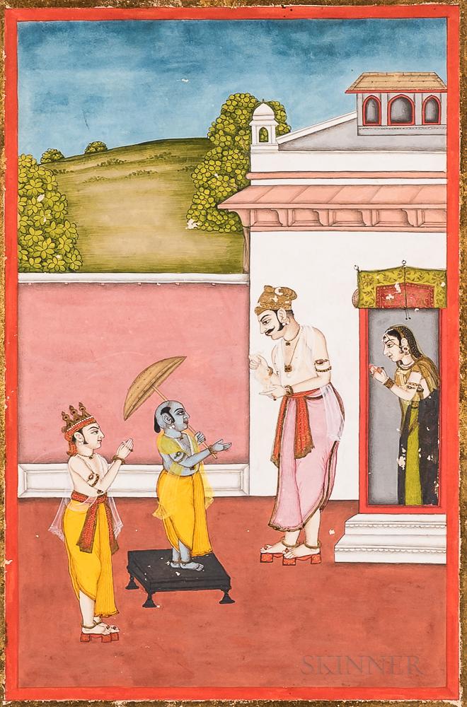 Miniature Painting Depicting Krishna