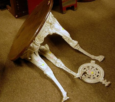 Victorian White Painted Cast Iron Pub Table.