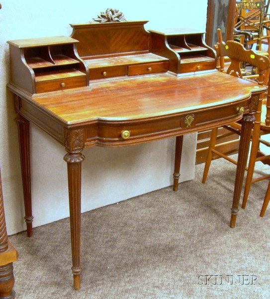 Ladys Neoclassical Carved Mahogany Writing Desk.