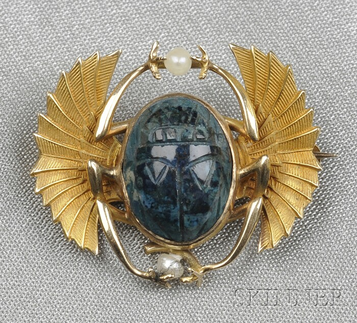 Art Nouveau 14kt Gold and Hardstone Winged Scarab Brooch