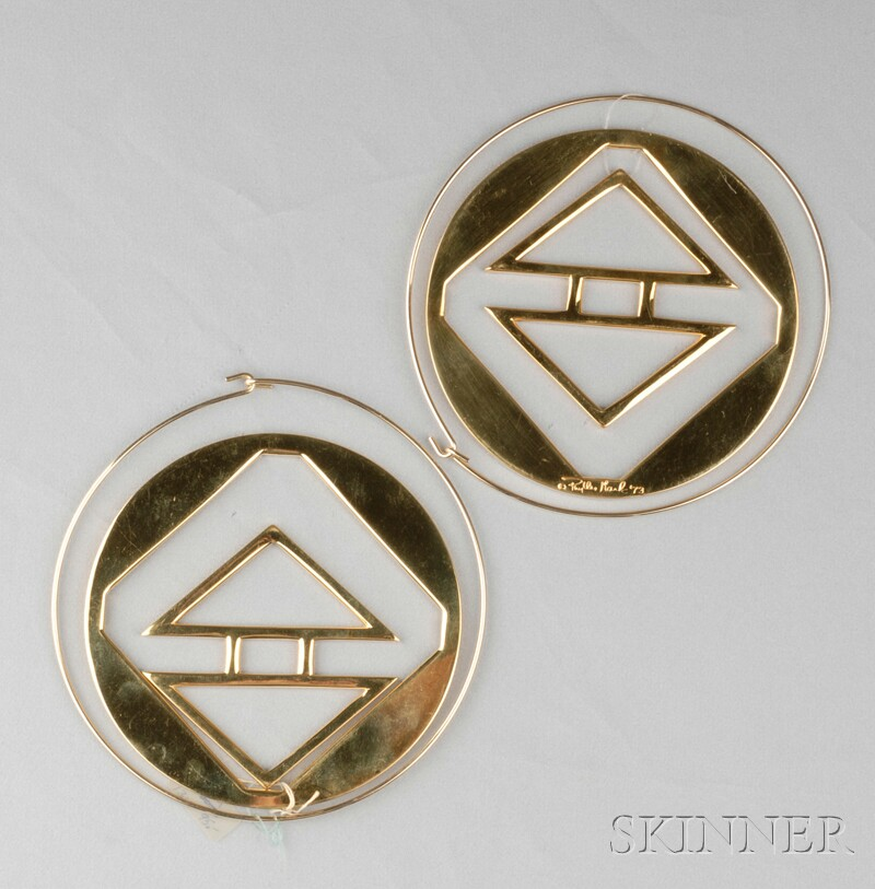 "Two Sculpture-to-wear ""Chevrons"" Pendants, Phyllis Mark"