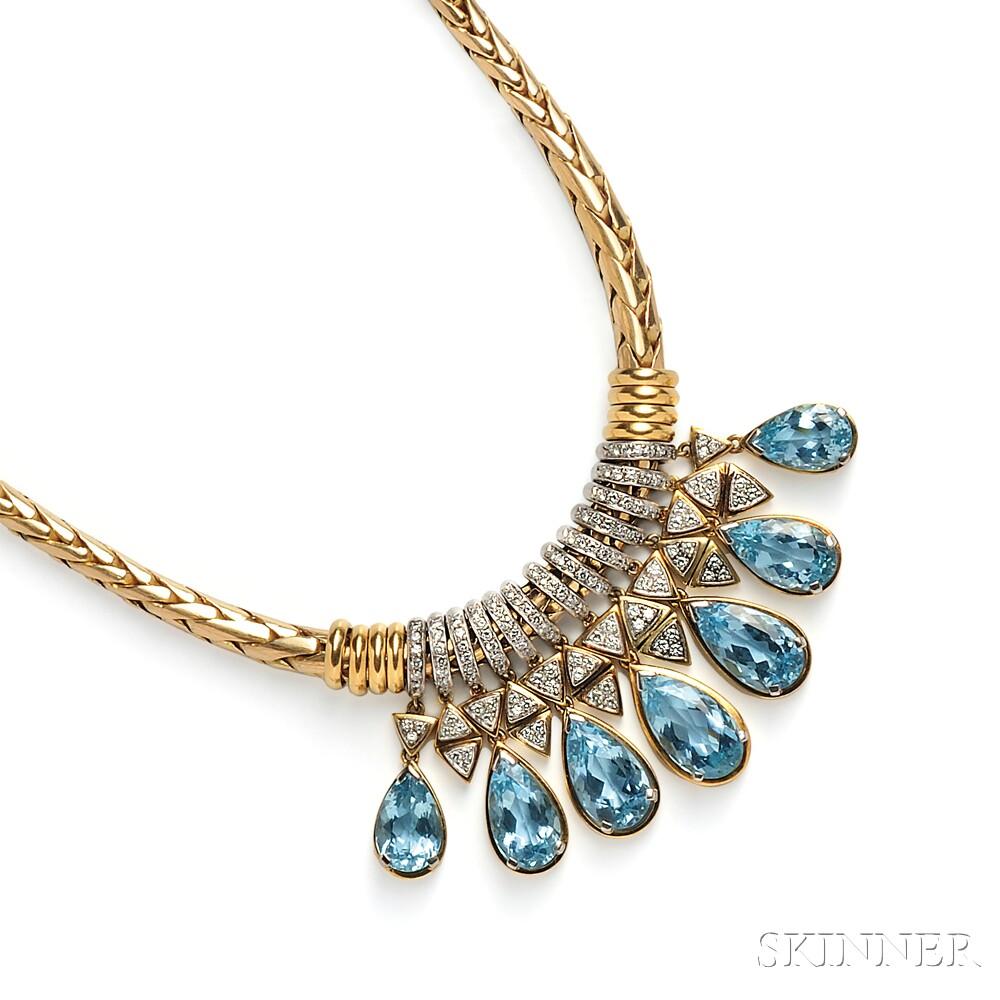 18kt Gold, Aquamarine, and Diamond Necklace