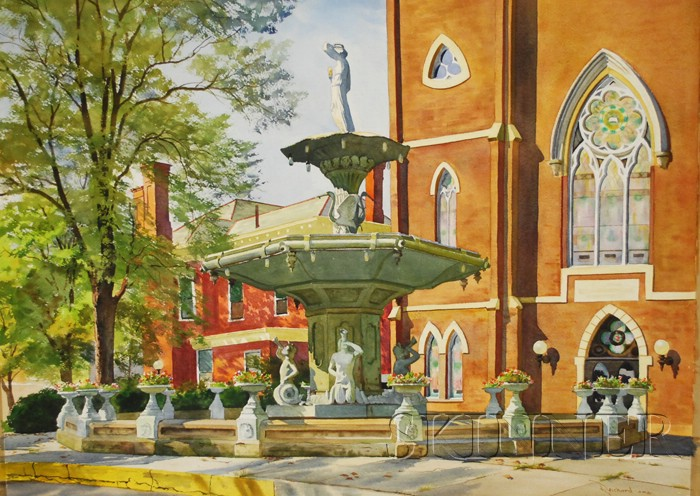 Lot of Two Unframed Watercolors by Joel W. Reichard (American, 20th Century)      Broadway Fountain, Madison, Indiana