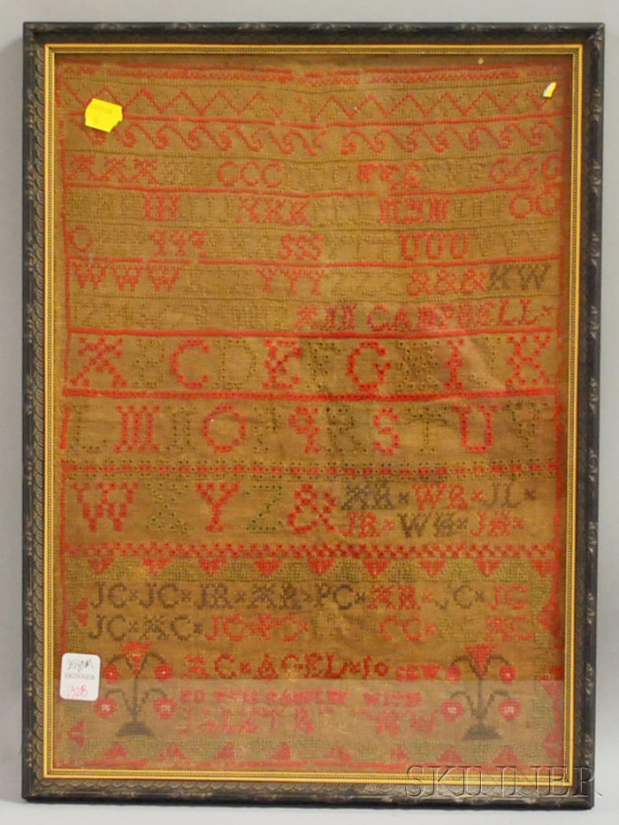 Framed 19th Century Needlework Sampler