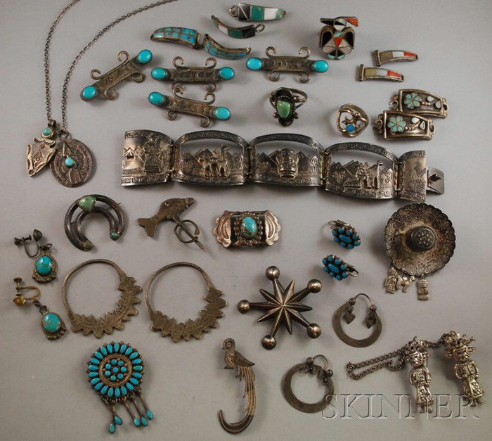 Group of Silver Native American and Mexican Jewelry