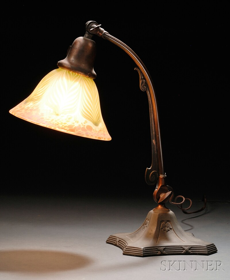 Handel Patinated Metal Desk Lamp with an Iridescent Pulled Feather Art Glass Shade