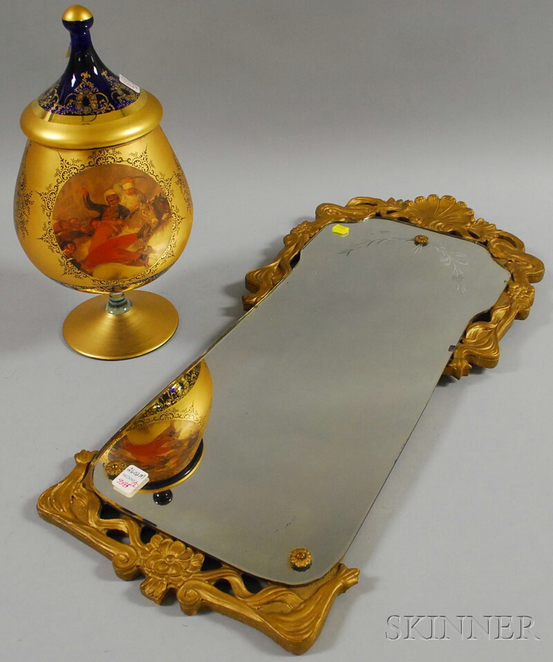 Italian Gilt and Hand-painted Turkoman Scene Decorated Cobalt Glass Vase with Cover and a Gold-painted Art Nouveau Gesso-framed Mirror