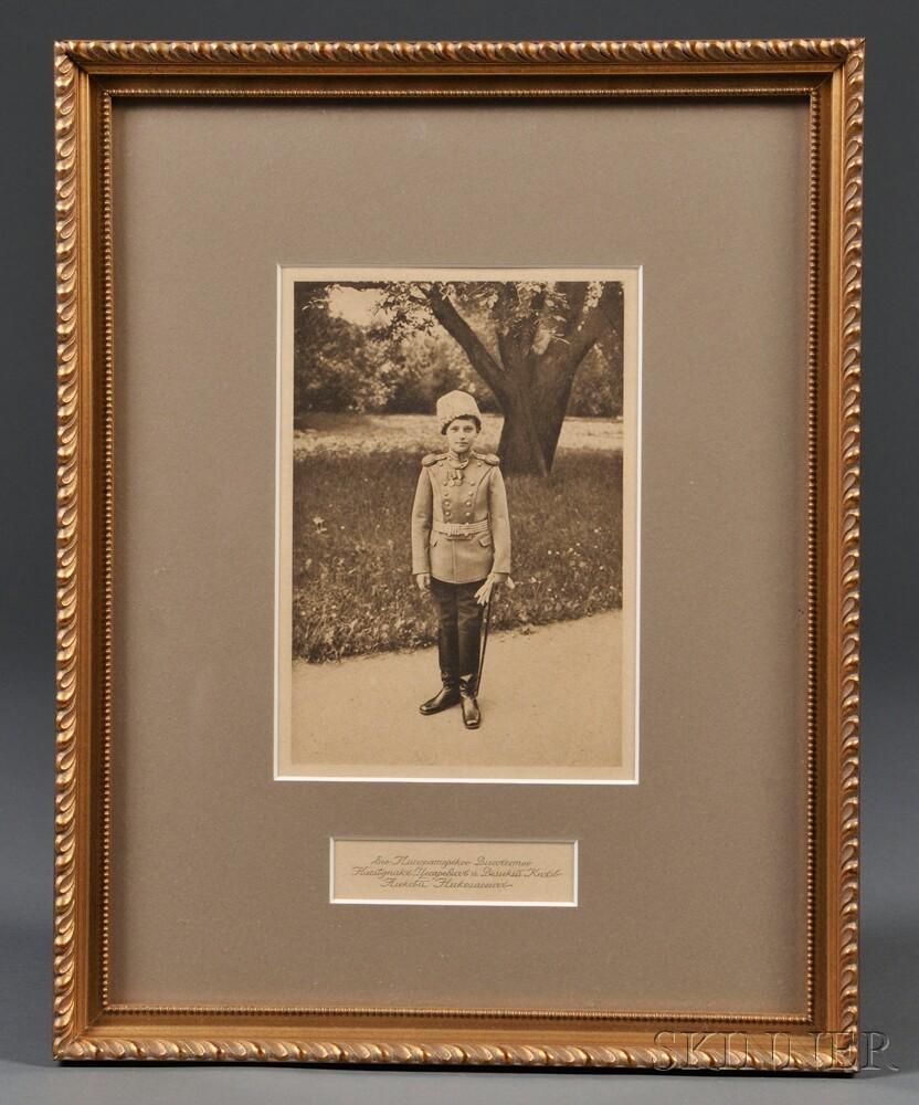 Photogravure Depiction of Tsarevich Alexei Nikolaevich in Uniform