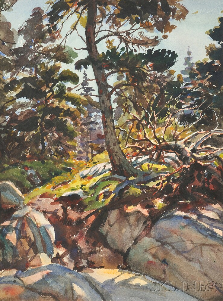 Thomas R. Curtin (American, 1899-1977)      Two Landscapes: Wooded Landscape