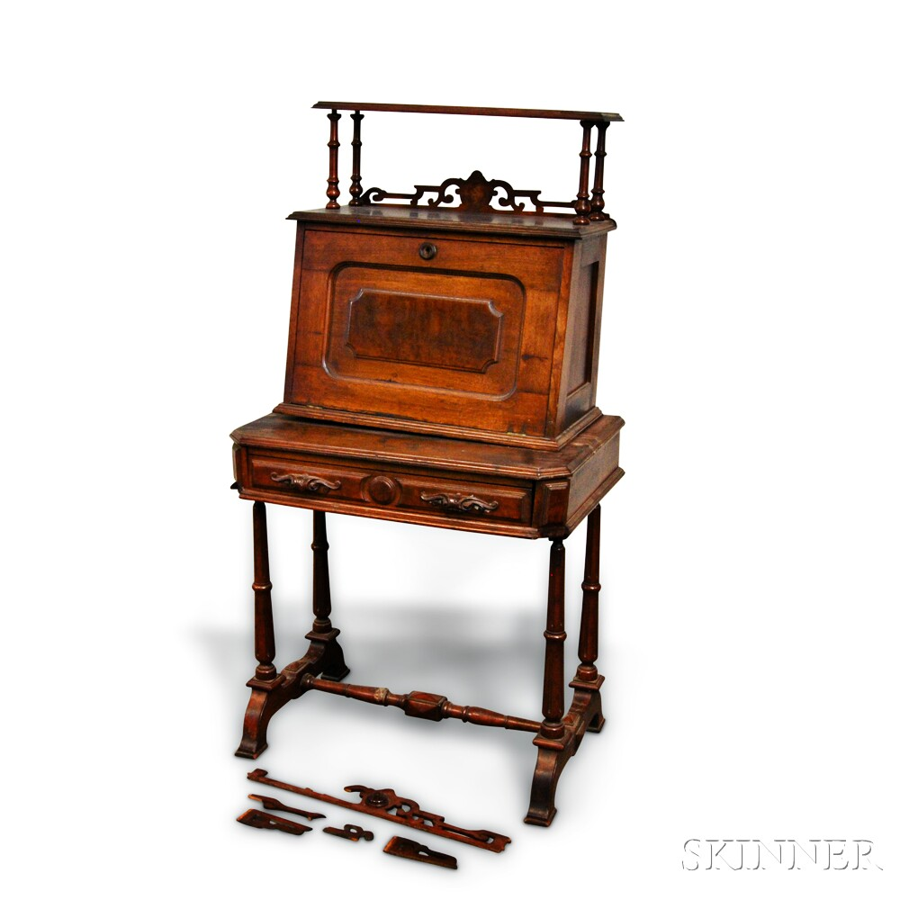 Renaissance Revival Carved Walnut Lady's Desk