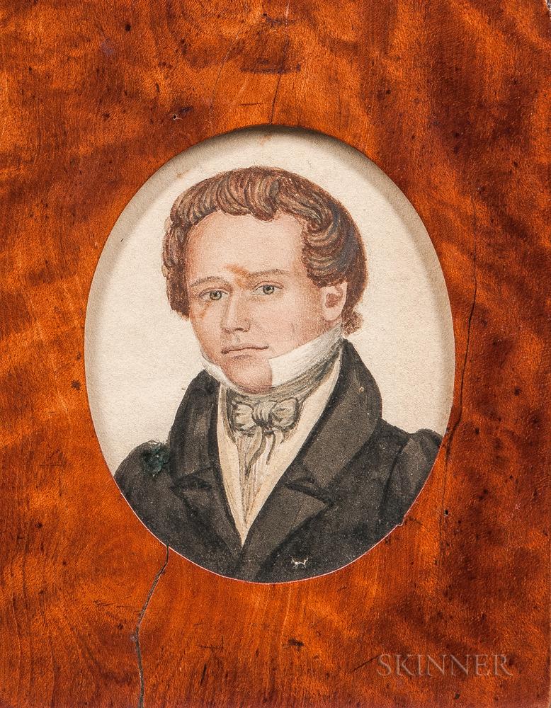 Rufus Porter (Connecticut/Massachusetts, 1792-1884)      Portrait of Reuben Bacon