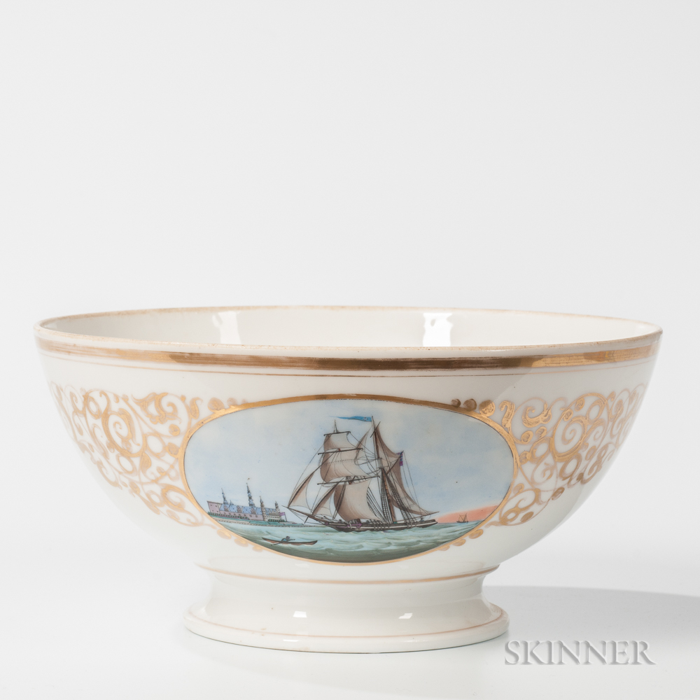 Footed Porcelain Bowl with Painted Nautical Decoration