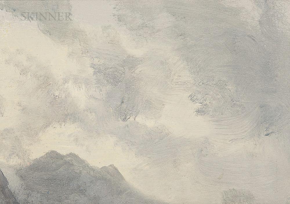 Albert Bierstadt (American, 1830-1902)      Mountain Peak in Cloud
