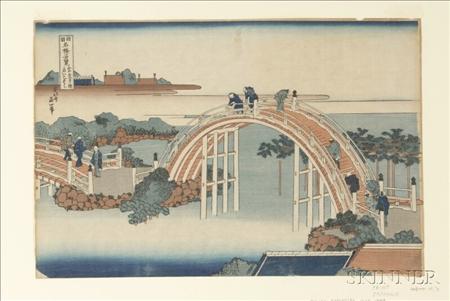 Hokusai: The Drum Bridge at Kameido Shrine