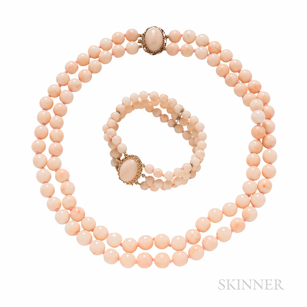 14kt Gold and Angelskin Coral Necklace and Bracelet