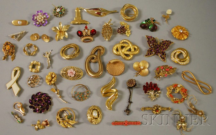 Large Group of Costume Brooches
