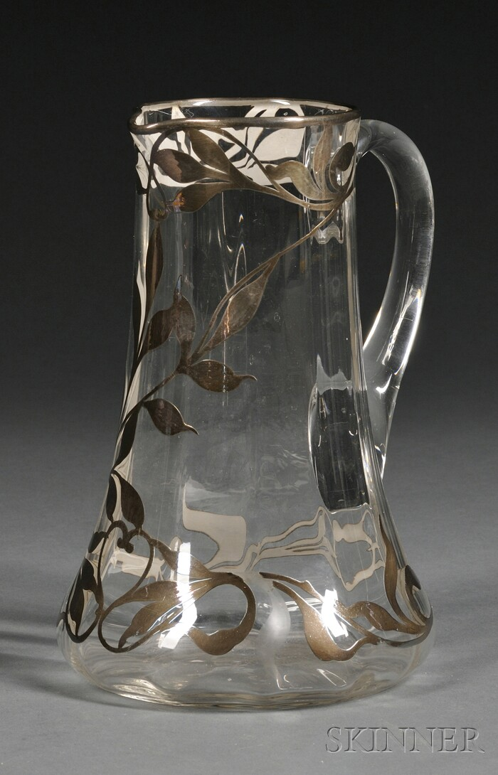 Art Nouveau Silver Overlay and Colorless Glass Pitcher