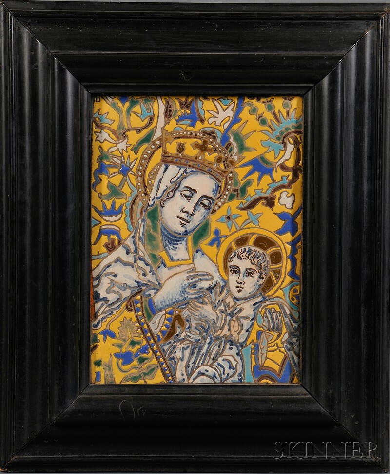 Painted Ceramic Plaque of the Madonna and Child