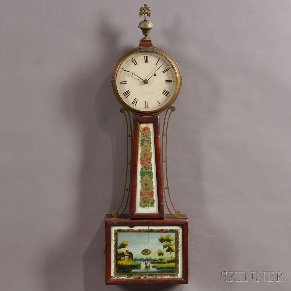 """J. N. Dunning Patent Timepiece or """"Banjo"""" Clock"""