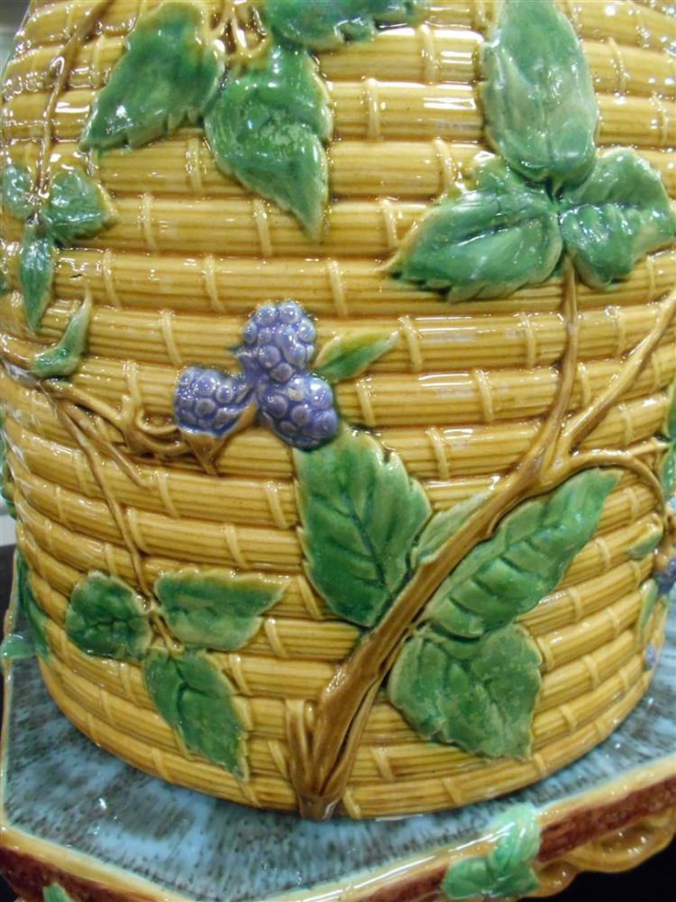 Minton Majolica Beehive Cheese Dome and Stand