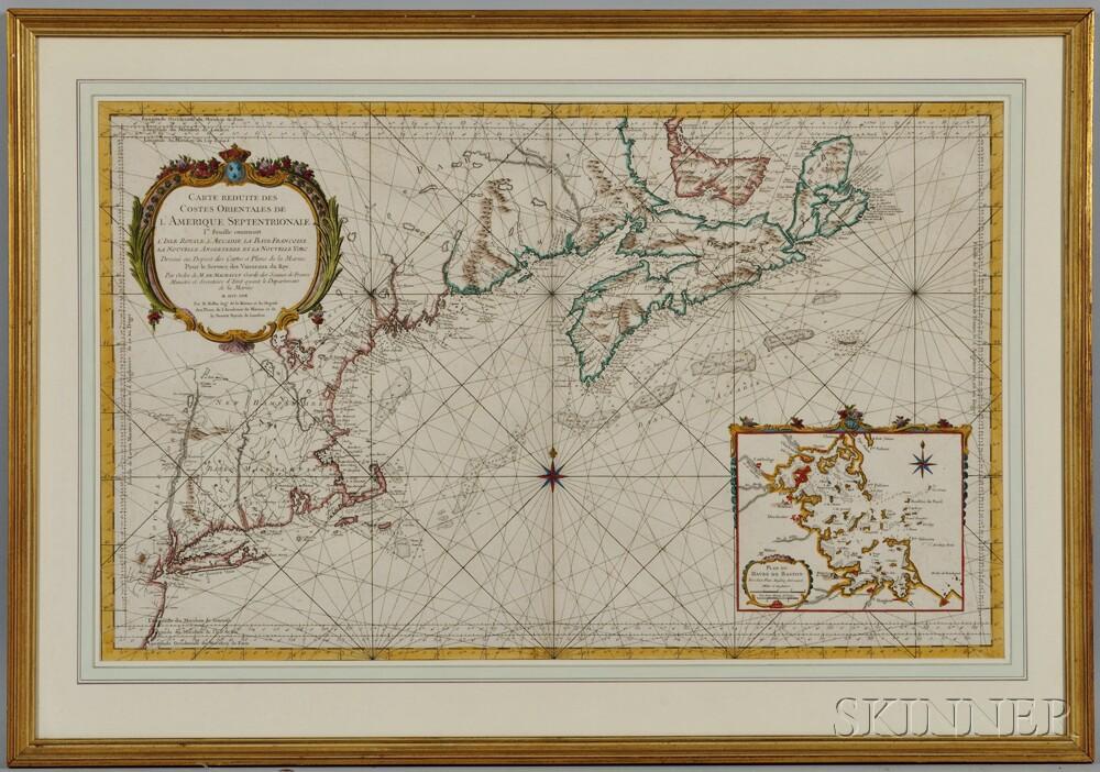 North America, East Coast: Long Island to Isle Royale, Canada. Jacques Nicolas Bellin (1703-1772) Carte Reduite Des Costes Orientales D
