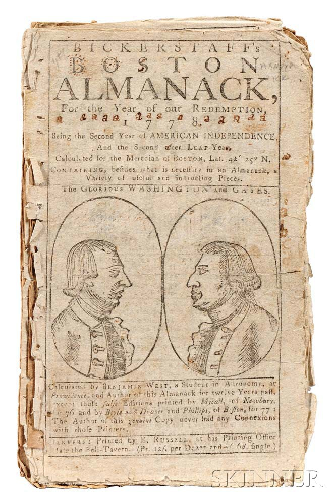 West, Benjamin (1730-1813) Bickerstaff's Boston Almanack.