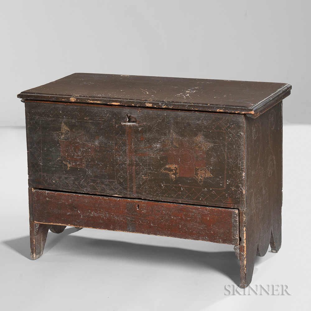 Small Paint-decorated Chest over Drawer