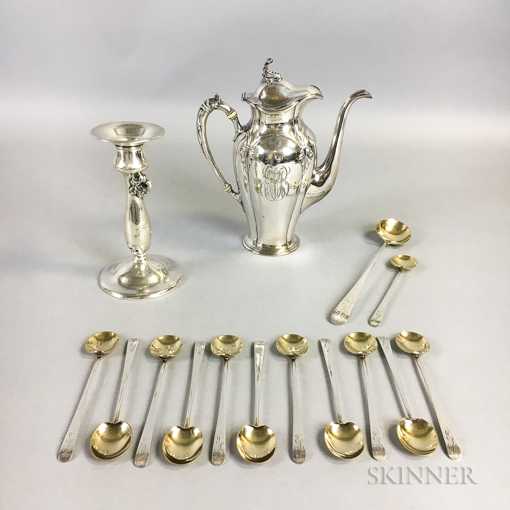 Gorham Sterling Silver Coffeepot, Sterling Silver Weighted Candlestick, and a Sterling Silver Ice Cream Spoon Set