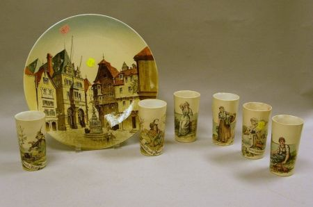 Seven Villeroy & Boch Printed Underglaze Tumblers and a Stadthaus in Berncastel   Plaque
