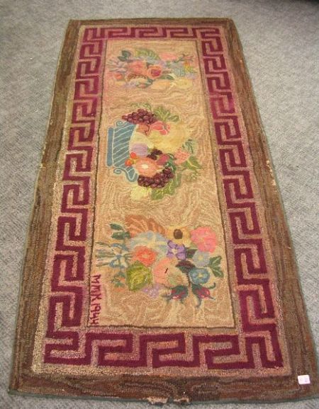 Fruit and Floral Hooked Rug with Greek Key Border